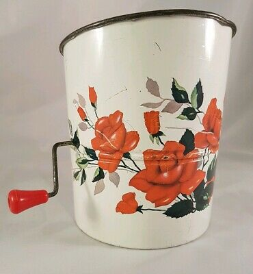 Vintage Flour Sifter Willow Metal Sifter with floral print