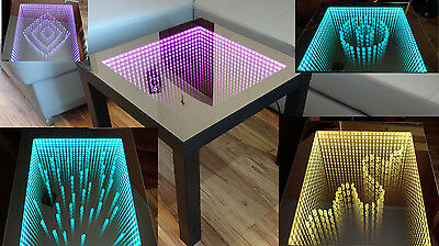 Black Table Led 3d Coffee Table Illuminated Infinity Mirror Effect Remote Rf 163 169 00