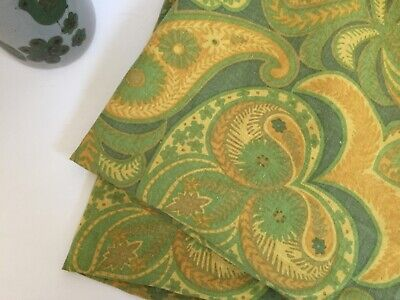 "Vintage 60's/70's Linen Paisley Round 84"" Tablecloth Green and Gold"