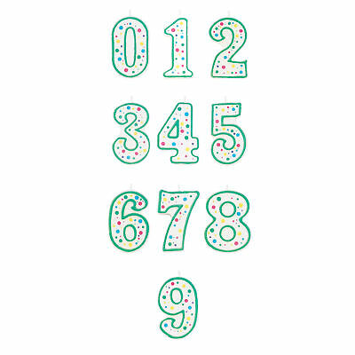 Wilton Green Polka Dot Number Age Candles for Children Birthday Party Decoration