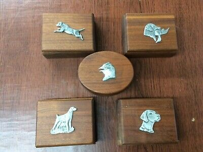 Sportmans Walnut Curio Jewelry Box with Pewter Animal Heads_Lou Depaolis