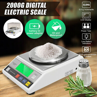 0.01g -2000g 2kg Digital Electric Scale Jewelry Weight Balance LB Gold Lab Weigh