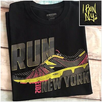 d7a797e8ed5d0 New York 2013 Marathon NEW BALANCE Men's Black T-Shirt I Run NY Tee Top