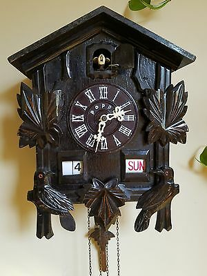 Rare Vintage POPPO Cuckoo Clock with Day Date Calendar !!