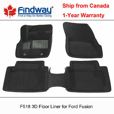Black All Weather 3D Car Floor Mats / Liners for 2013-2016 Ford Fusion