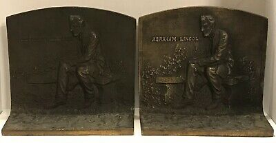 Antique Art Deco SOLID BRONZE L-Shape Bookends ABRAHAM LINCOLN Seated on Bench