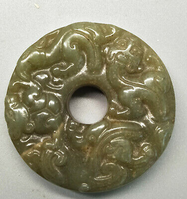 Chinese Exquisite Hand-carved old jade dragon BI K429