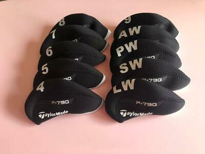 10x Protective Iron Headcovers for Taylormade P790 Club Covers 4-LW Black&Black