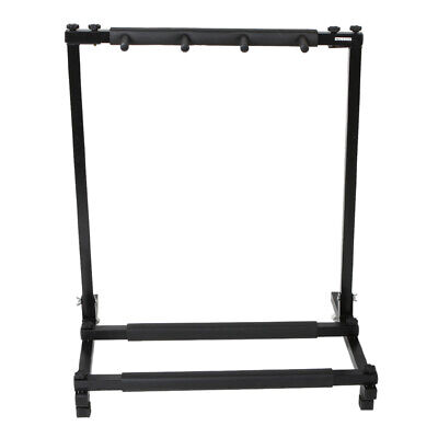 Triple Folding Multiple Guitar Holder Rack Stand Sturdy Holds up to 5 guitars