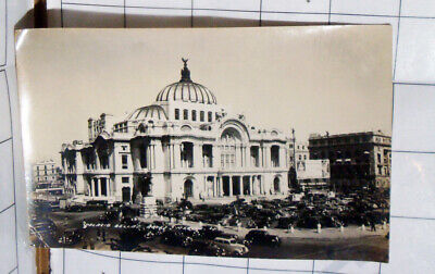 antique 1933 Mexico rppc real-photo Palacio Bellas Artes building cars downtown