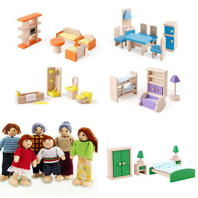 New Wooden Furniture Room Set Dolls House Family Miniature Toy Kid Children Gift