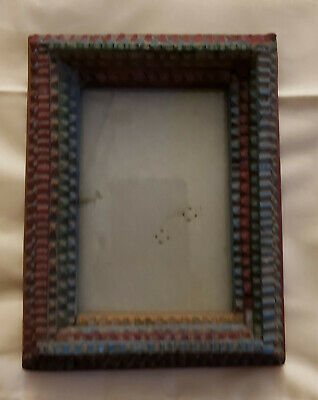 Vintage Tramp Art Frame hand carved ornate layered small decorative folk art