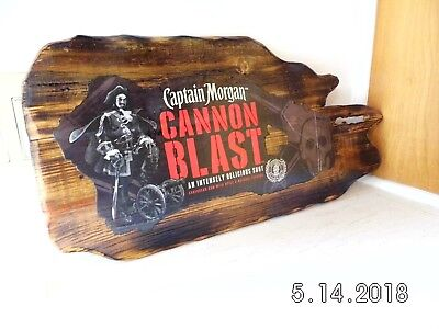 Handmade Wooden Captain Morgan Cannon Blast Caribbean Rum Bar Sign 2018 Original