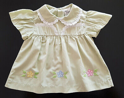 VINTAGE 1970/80's BABY DRESS ~ PALE GREEN w FLOWERS, for BABY or REBORN DOLLS