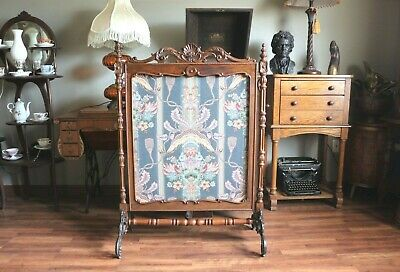 Antique Fireplace Screen with Beautiful Carving & Ornate Scrolled Cast Iron Legs