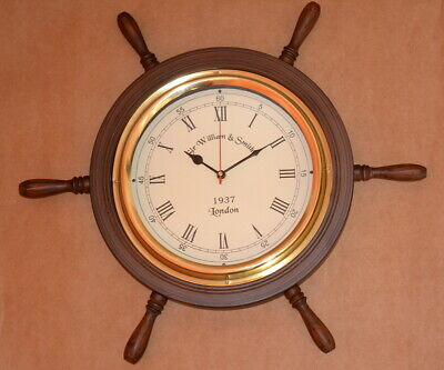 """Antique vintage collectible wooden 16"""" decorative wall clock ship's wheel style"""