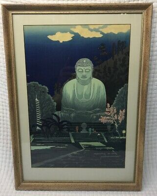 Gihachiro Okuyama Woodblock Prints Buddha in Kamakura Framed By Hudson's 1953