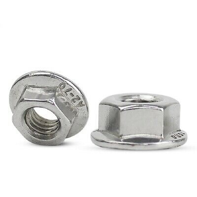 A2 304 Stainless Steel - Flange Nuts Lock Hex Nut M10 (10mm) - QTY 5