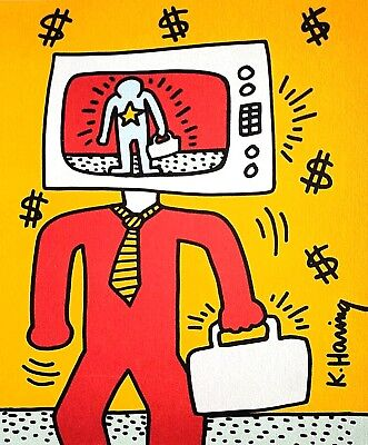 Keith Haring, TV Man, Hand Signed Lithograph