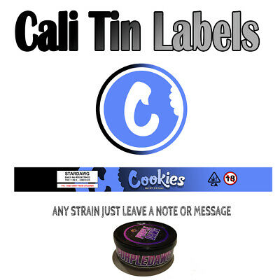 Cookies Brand Cali Tin Labels Stickers / Press In Tin Labels 100ml (Any Strain)