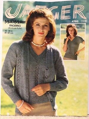 """Jaeger Knitting Pattern 4760 Women's Twinset Cable Cardigan V Neck Top 32-38"""""""