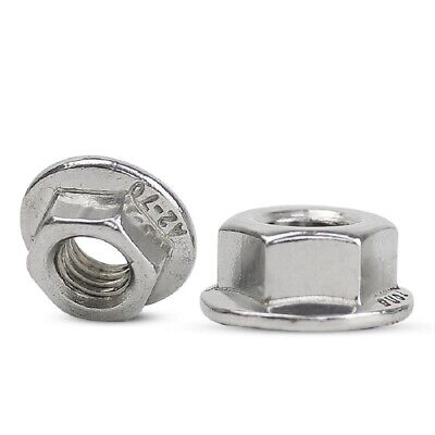 A2 304 Stainless Steel - Flange Nuts Lock Hex Nut M4 (4mm) - QTY 50