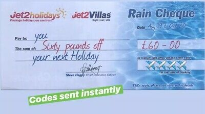 20 X Jet2Holidays £60 Rain Cheque voucher Valid until March 2020**EXP AUG
