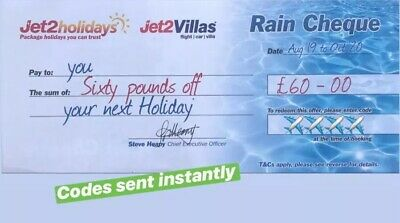 50 XNEW Jet2Holidays £60 Rain Cheque voucher Valid until OCT 2020-DECEMBER CODES