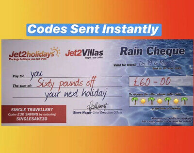 1 X NEW Jet2Holidays £60 Rain Cheque voucher Valid until OCT 2020-DECEMBER CODES