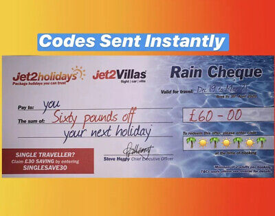 1 XNew Jet2Holidays £60 Rain Cheque voucher Valid until March 2020** EXP AUG