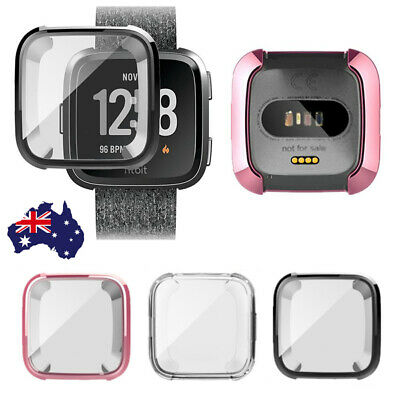 For Fitbit Versa Silicone TPU Shell Case Screen Protector Frame Cover LG OZ