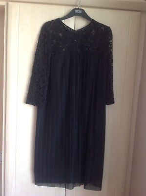 Bnwt Marks And Spencer Ladies Black Lace Pleated Dress, Size 14, Rrp £59