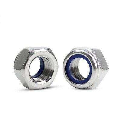 A2 304 Stainless Steel - Nyloc Nuts Nylon Inert Lock Hex Nut M5 (5mm) - QTY 30