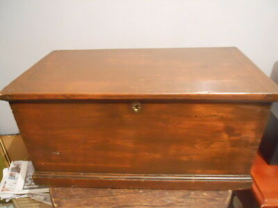 Antique  Victorian Pine Chest Kist Box, stained to mahoghany
