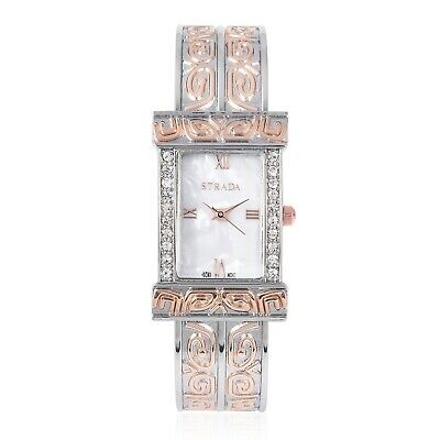 STRADA Crystal Japanese Movement Cuff Watch in Silvertone Goldtone with Steel