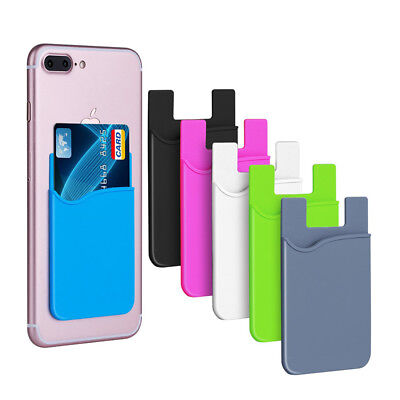 Phone Stick On Wallet Credit ID Card Holder Silicone Adhesive for iPhone use