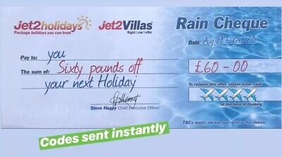 100XNEW Jet2Holidays £60 Rain Cheque voucher Valid until OCT 2020-DECEMBER CODES