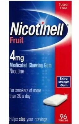 SPECIAL OFFER!!  4x Nicotinell Fruit Medicated 4mg Chewing Gum 96 Pieces