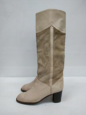 Size 37.5 Vintage Ladies Ivory Suede Leather MARANO High Boots