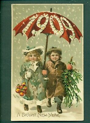 HOLD TO LIGHT,CHILDREN 1909 NEW YEAR,vintage postcard