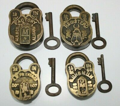 4 pieces lot of Old brass small or miniature padlock lock with key Nice Carved.