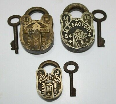 3 pieces lot old or antique solid brass padlock lock with key small or miniature
