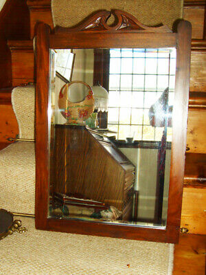 Antique Edwardian Wooden Wall Mirror. Arts and Crafts Movement Era, very heavy