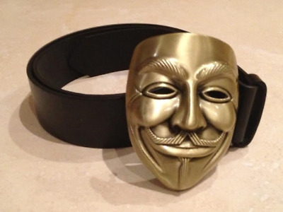 V for VENDETTA logo BUCKLE + FREE Belt Anonymous Guy Fawkes mask face new