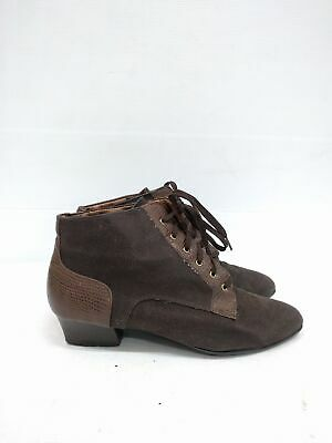 Size 41 Vintage Ladies Brown Suede Leather Classic Laceup Ankle boots