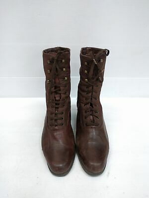 Size 39 Vintage Ladies Leather Canvas Laceup Leather Ankle boots made in Italy