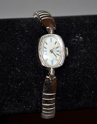 Beautiful Ladies Timex Manual Wind Watch Silver Blue White Face
