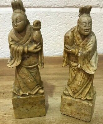 A Pair Of Late 18th/ Early 19th Century Chinese Soapstone Figures