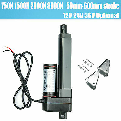 750-3000N Electric Linear Actuator Cylinder Lift Stroke 50-600mm DC12V 24V Black