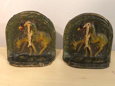 """Old Vtg Pair Of Cast Iron Bookends Horse Bowing W/Indian Rider Man 4""""x4"""" Western"""